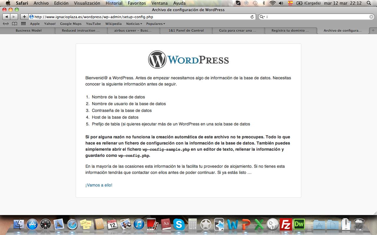 Wordpress nos ayuda a configurar WP
